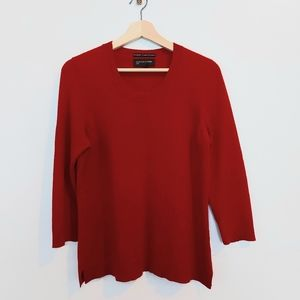 Jones NY Cashmere Crew Neck Sweater Red